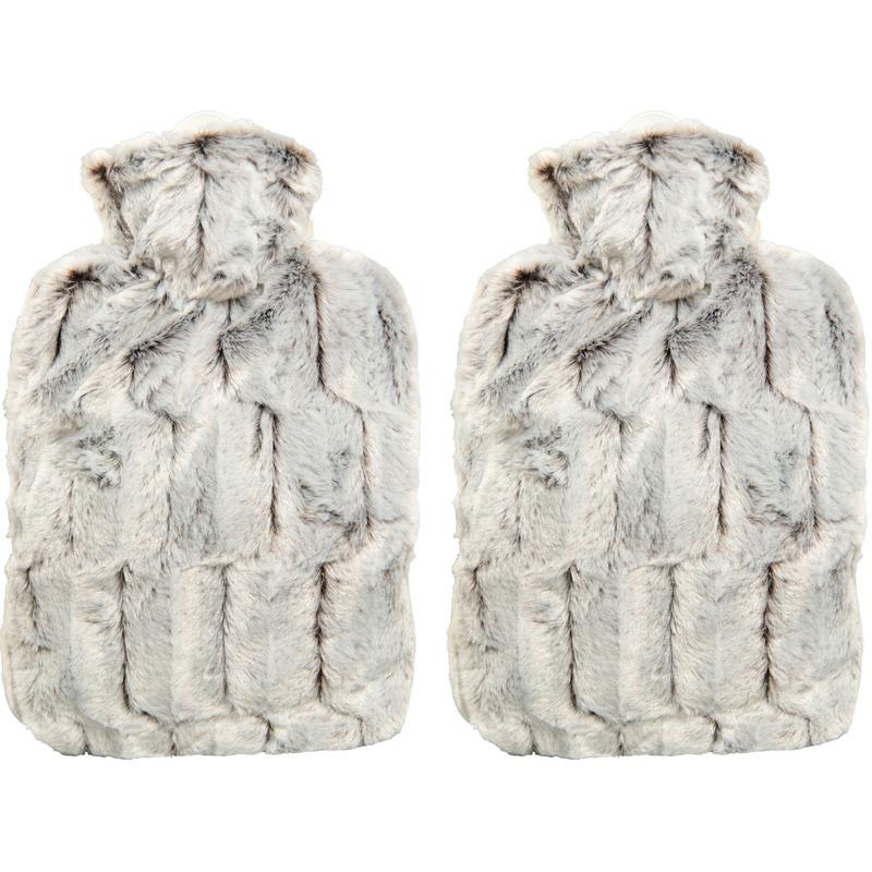 Afbeelding van 2x Bruin/grijze pluche waterkruiken 1,8 liter met dierenvacht hoes
