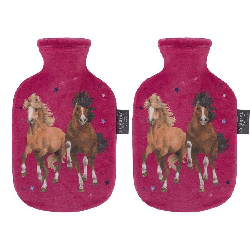 Afbeelding van 2x Fuchsia roze kruiken 0,8 liter met paard/pony dieren hoes 0,8 liter