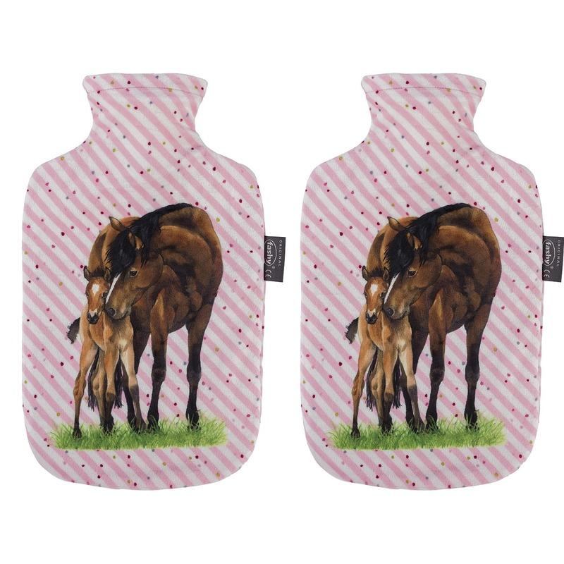 Afbeelding van 2x Gestreepte roze kruiken 2 liter met paard/pony dieren hoes 2 liter