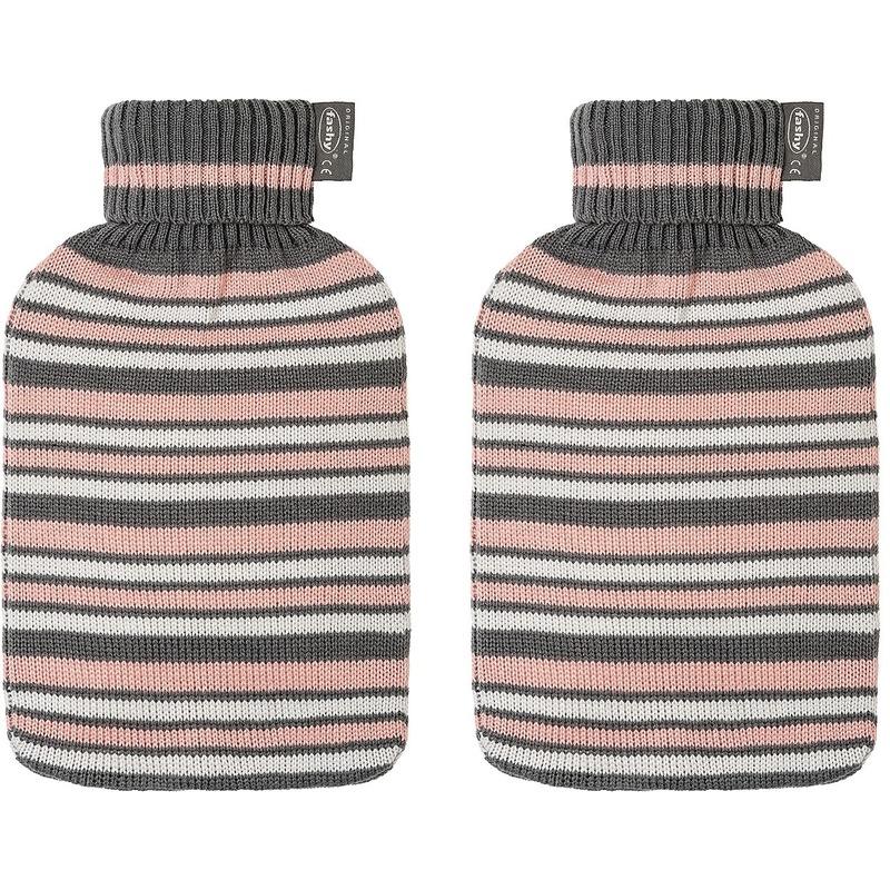 Afbeelding van 2x Grijze/roze/witte kruiken 2 liter met gestreepte hoes 2 liter