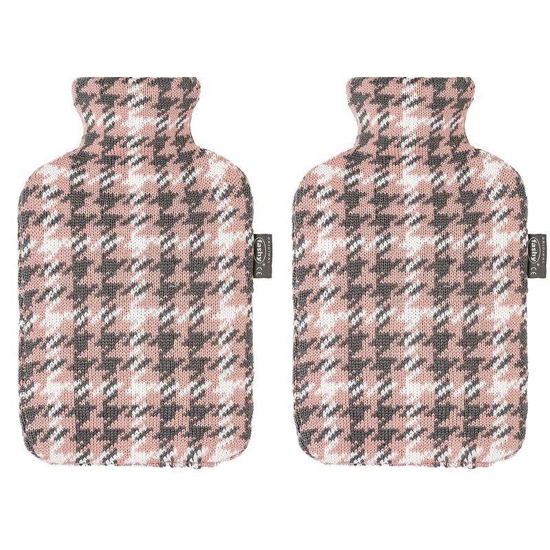 Afbeelding van 2x Grijze/roze/witte kruiken 2 liter met Pied-de-poulee hoes 2 liter