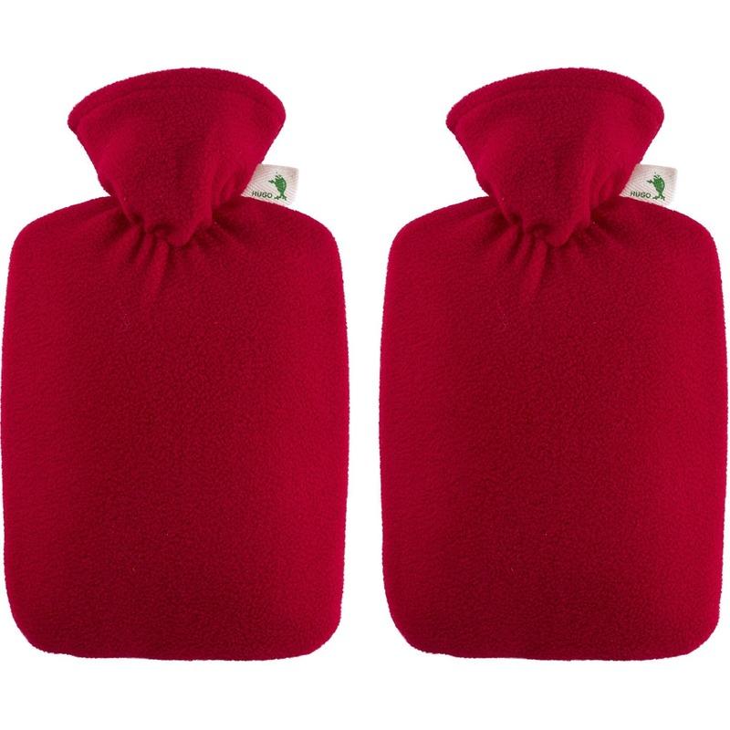 Afbeelding van 2x Rode fleece waterkruiken 1,8 liter met hoes