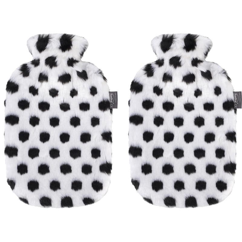 Afbeelding van 2x Zwarte/witte kruiken 2 liter met zachte neppe zebra dierenvacht hoes 2 liter