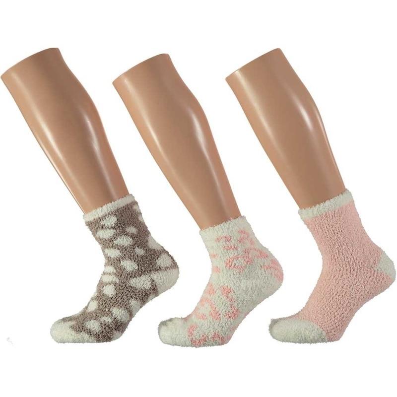 Afbeelding van 3-pack warme huissokken panter roze/wit voor meisjes