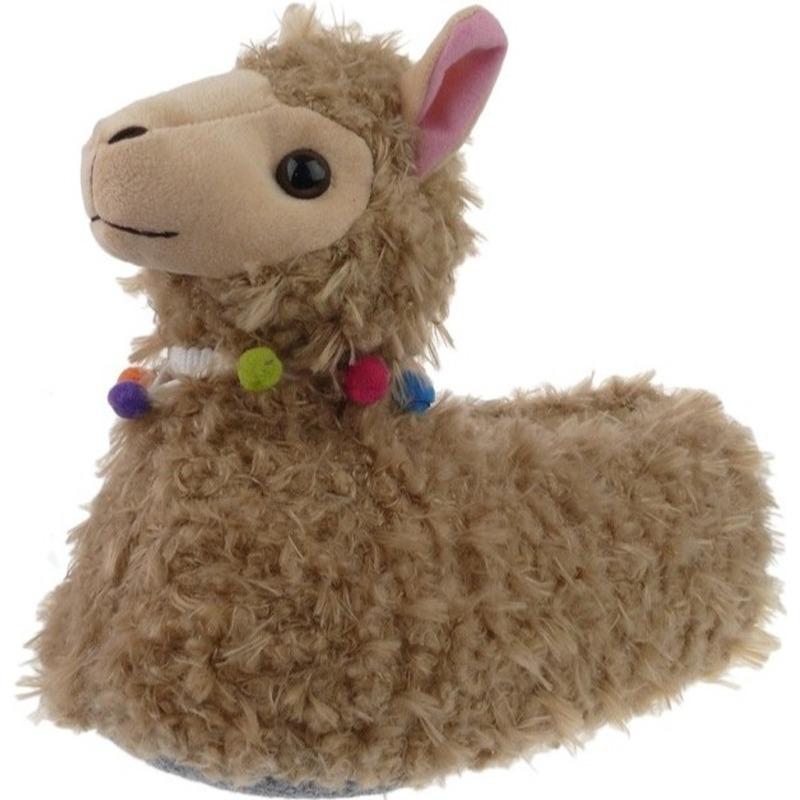 Afbeelding van Alpacas/lamas sloffen/pantoffels hoog model voor meisjes - Maat 36-37