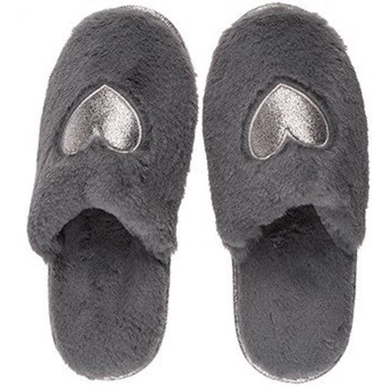 Afbeelding van Antracietgrijze dames sloffen/slippers met hartjes