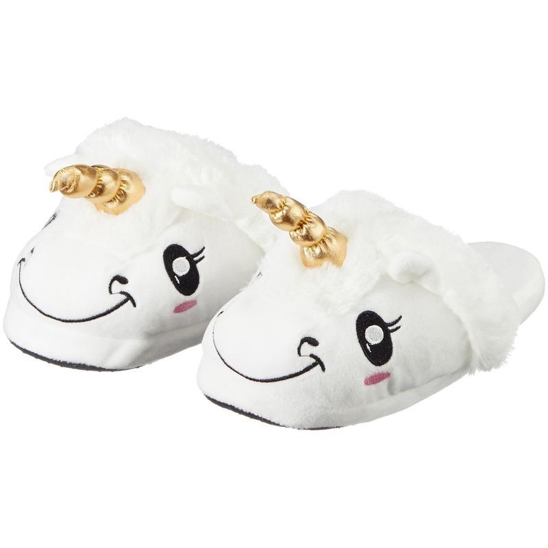 Afbeelding van Cadeau damesslofjes/pantoffels eenhoorn/unicorn met anti-slip zool voor dames