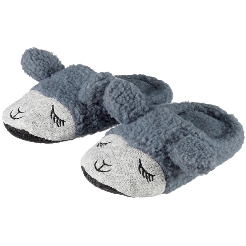 Afbeelding van Cadeau kinderslofjes/pantoffels lama/alpaca grijs met anti-slip zool voor kinderen