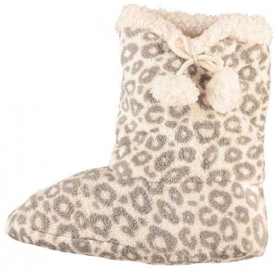 Afbeelding van Dames pantoffel sokken luipaard motief in het grijs