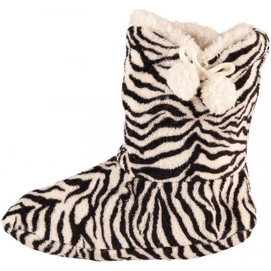 Afbeelding van Dames pantoffel sokken zebra motief in het zwart