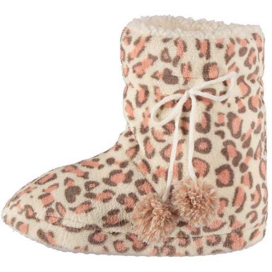 Afbeelding van Dames pantoffels luipaard motief in het roze