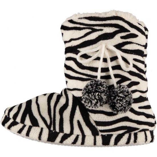 Afbeelding van Dames pantoffels zebra motief in het zwart