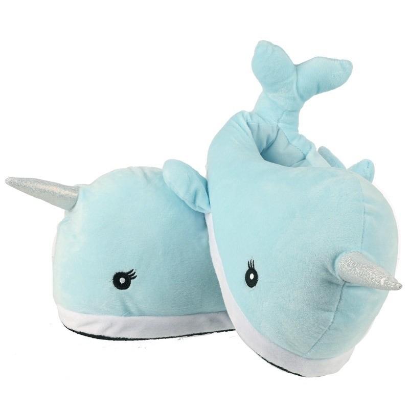 Afbeelding van Dieren sloffen narwal walvissen lichtblauw voor volwassenen