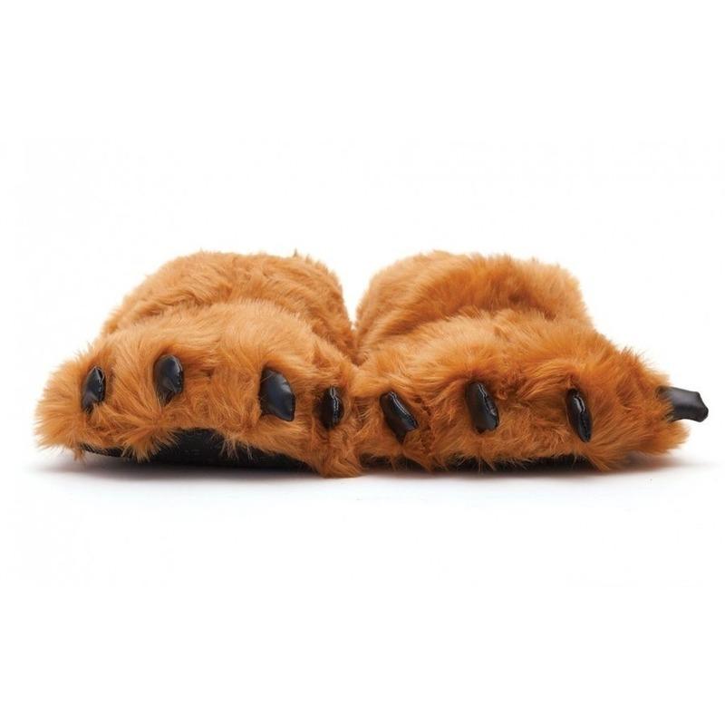 Afbeelding van Dierenpoot pantoffels/sloffen beer voor volwassenen bruin 39/41