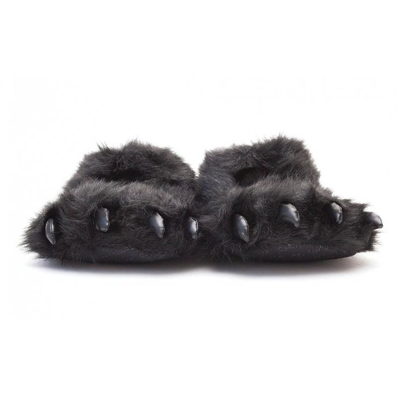 Afbeelding van Dierenpoot pantoffels/sloffen beer voor volwassenen zwart 39/41