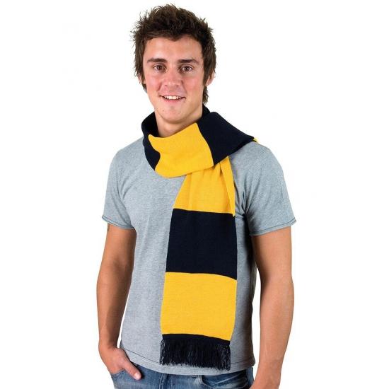 Afbeelding van Donkerblauw met goud gestreepte heren sjaal
