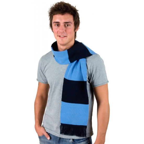 Afbeelding van Donkerblauw met lichtblauw gestreepte heren sjaal