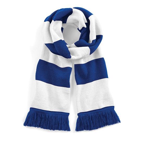 Afbeelding van Gestreepte retro sjaal blauw/wit