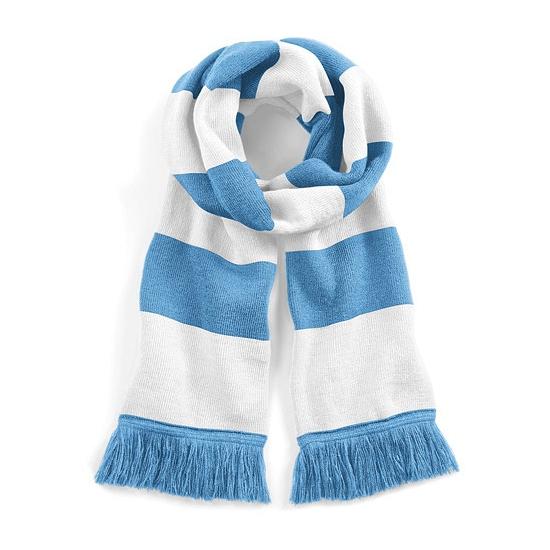 Afbeelding van Gestreepte retro sjaal lichtblauw/wit