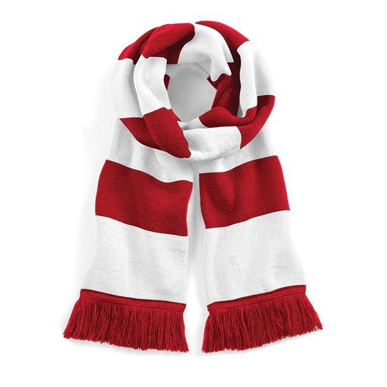 Afbeelding van Gestreepte retro sjaal rood/wit