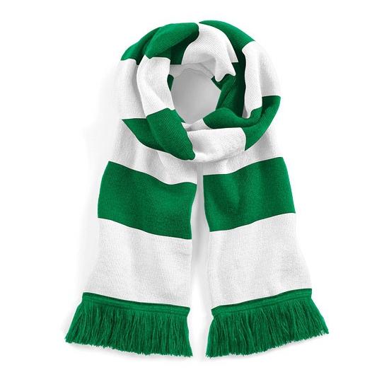 Afbeelding van Gestreepte retro sjaal wit/groen