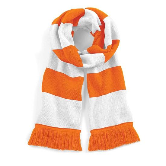 Afbeelding van Gestreepte retro sjaal wit/oranje