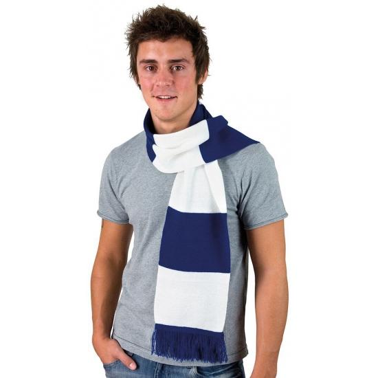 Afbeelding van Kobalt blauw met wit gestreepte heren sjaal