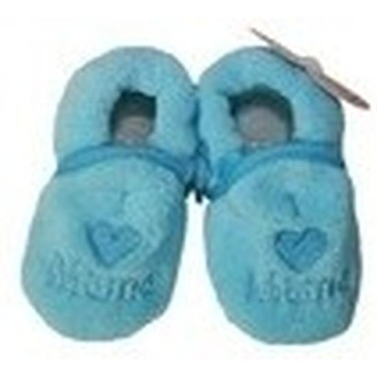 Afbeelding van Kraamcadeau blauwe babyslofjes/pantoffels love mama