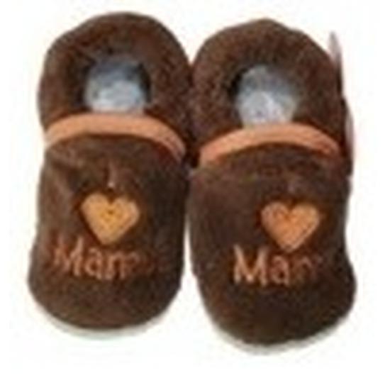 Afbeelding van Kraamcadeau bruine babyslofjes/pantoffels love mama
