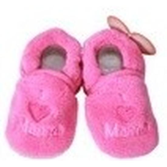 Afbeelding van Kraamcadeau fuchsia roze babyslofjes/pantoffels love mama