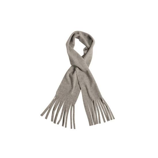 Afbeelding van Licht grijze winter fleece sjaal met franjes