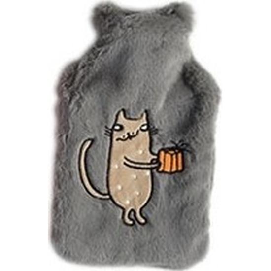 Afbeelding van Lichtgrijze pluche kruiken 2 liter met katje/poesje/kater borduursel 2 liter