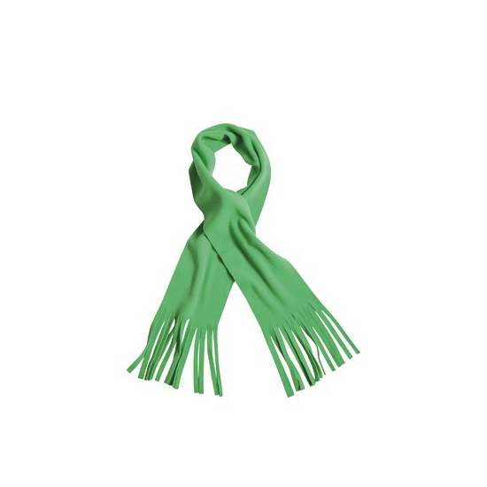 Afbeelding van Lime groene winter fleece sjaal met franjes