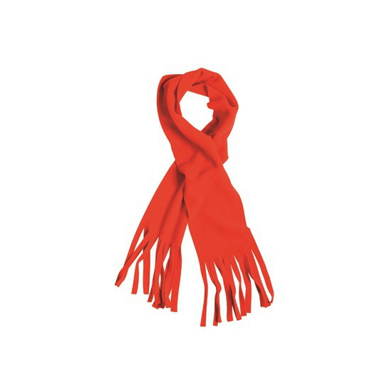 Afbeelding van Rode winter fleece sjaal met franjes