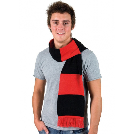 Afbeelding van Rood met zwart gestreepte heren sjaal