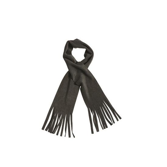 Afbeelding van Winter fleece sjaal met franjes antraciet