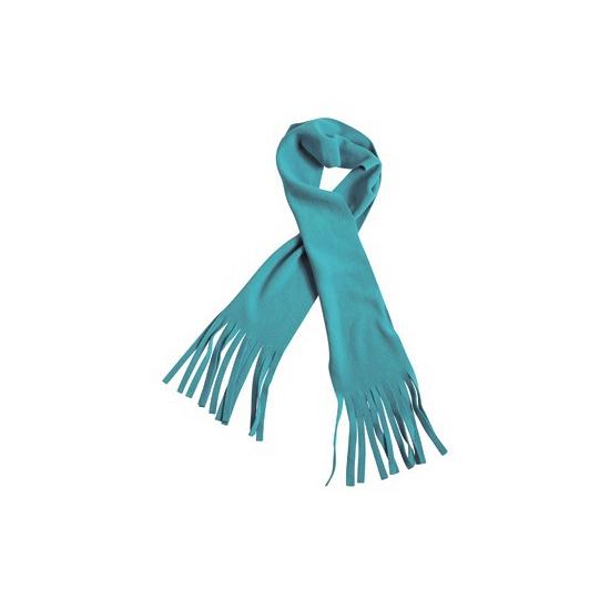 Afbeelding van Winter fleece sjaal met franjes aqua blauw