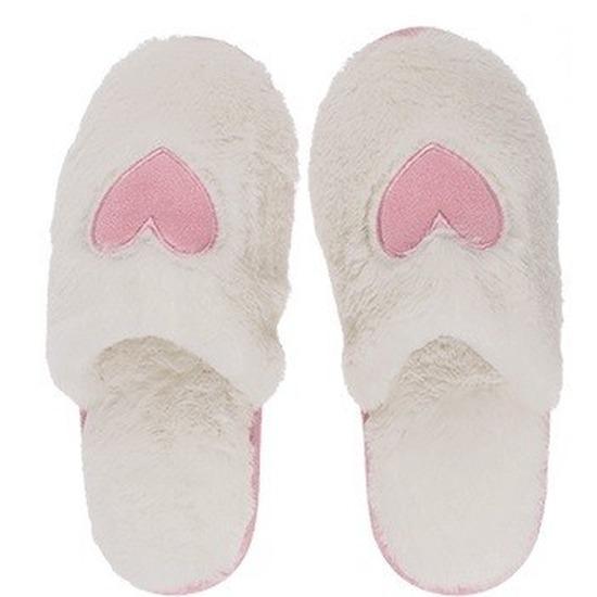 Afbeelding van Witte dames sloffen/slippers met hartjes