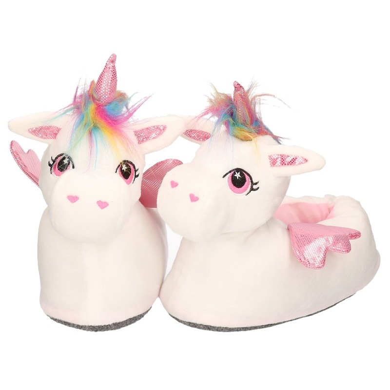 Afbeelding van Witte/roze eenhoorns sloffen/pantoffels hoog model voor meisjes - Maat 36-37