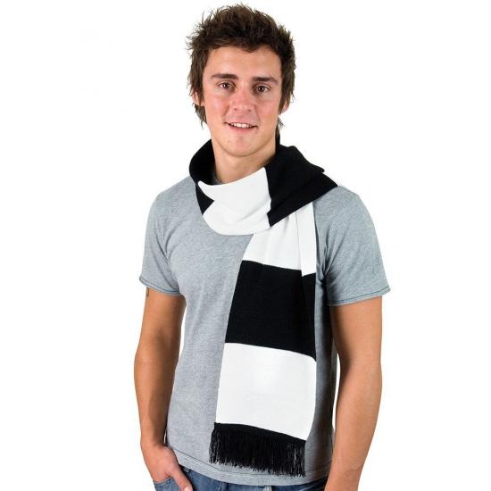 Afbeelding van Zwart met wit gestreepte heren sjaal